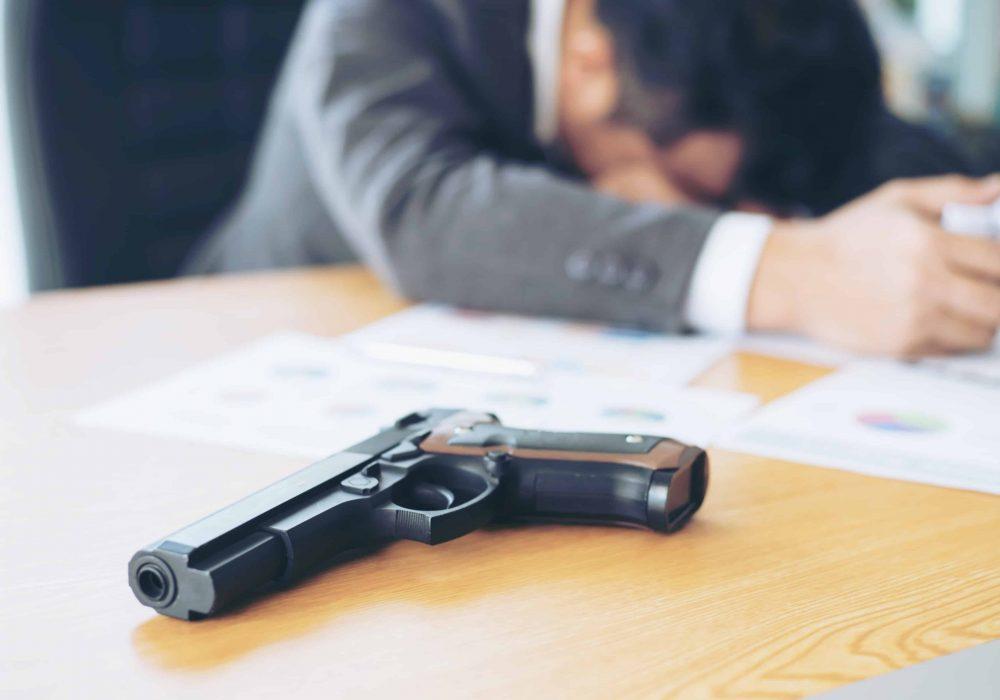 gun on office desk